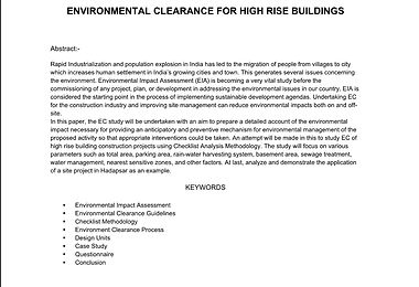 ENVIRONMENTAL CLEARANCE FOR HIGH RISE BUILDINGS