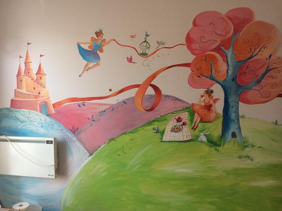 κοριτσίστικο δωμάτιο-τοιχογραφία