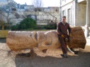 Tiki du muséum d'Histoire Naturelle de La Rochelle sculpté par Phil Totem