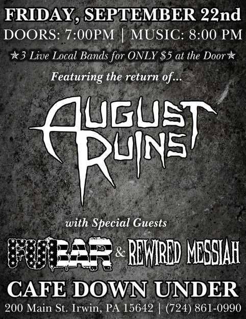 FUBAR with August Ruins at Cafe Down Under
