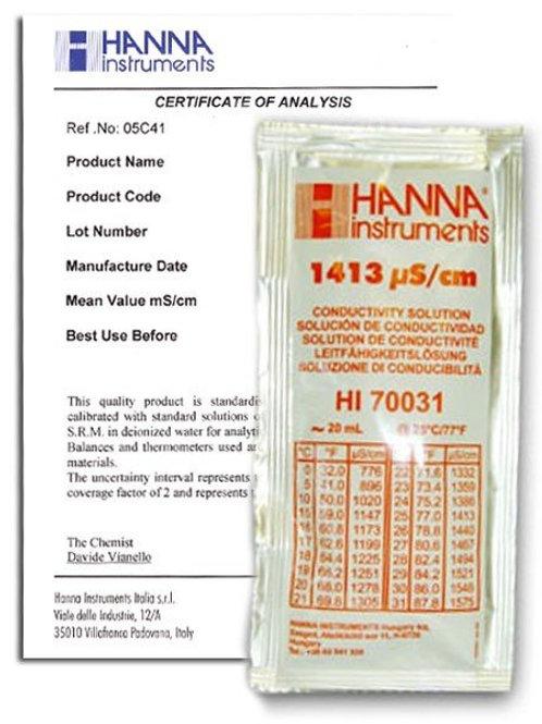 HI-70031C 1413�S/cm Conductivity Solution, x25 Sachets with certificate