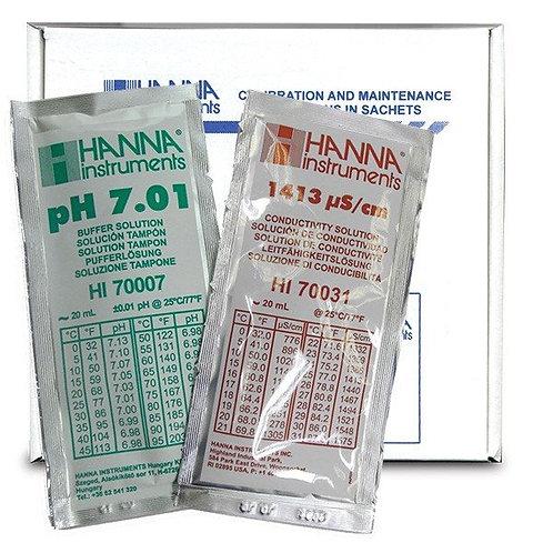 HI-77100P Combination pH/EC Buffer Kit 1413 uS/cm & 7.01 pH 10 x 10 sachets