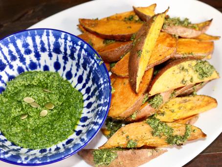 Kale,Cilantro and Pumpkin Seed Pesto