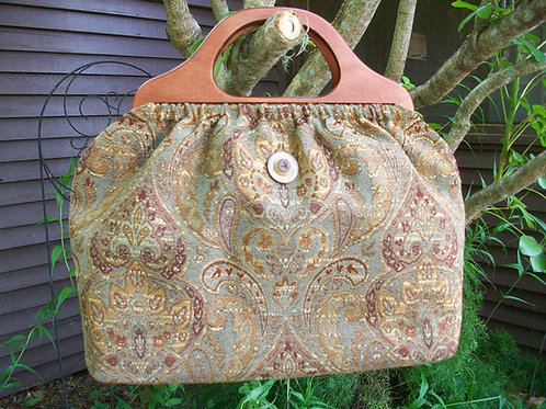 Soft Green Paisley Classic Knitting Bag