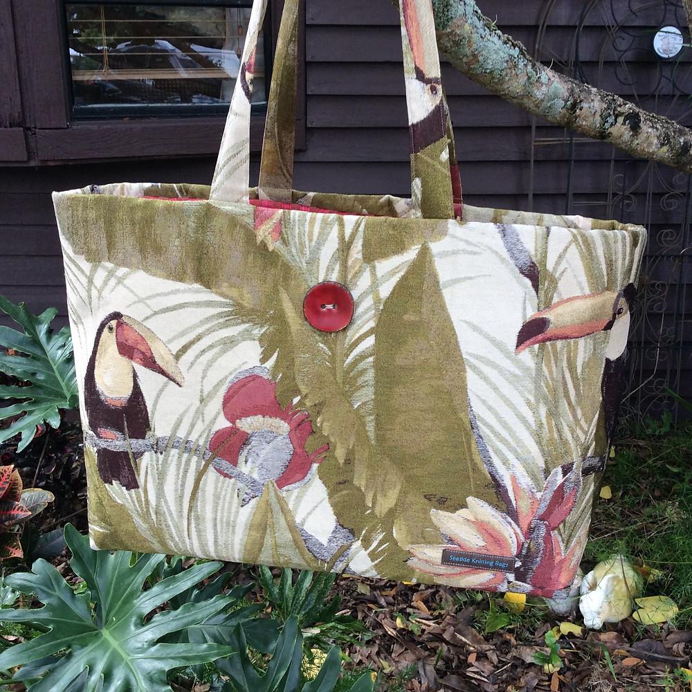 tropical toucan knitting bag