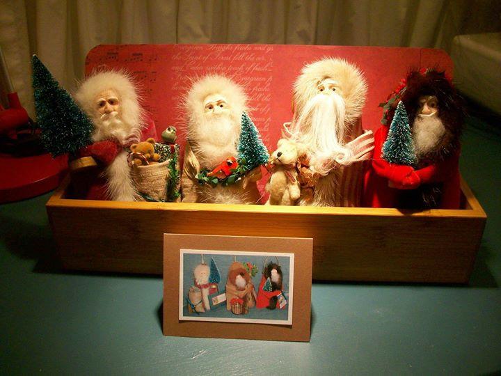 handmade Father Christmas ornament. hand molded clay face, wool beard, genuine mink trim