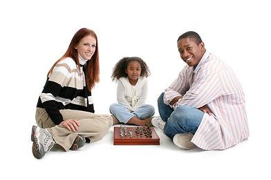 Mom, dad, daughter. Happy interracial fa