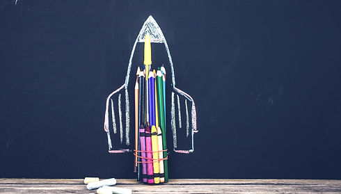 back to school rocket made out of pencil