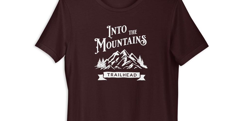 Into The Mountains WHITE LOGO (Unisex Tee)