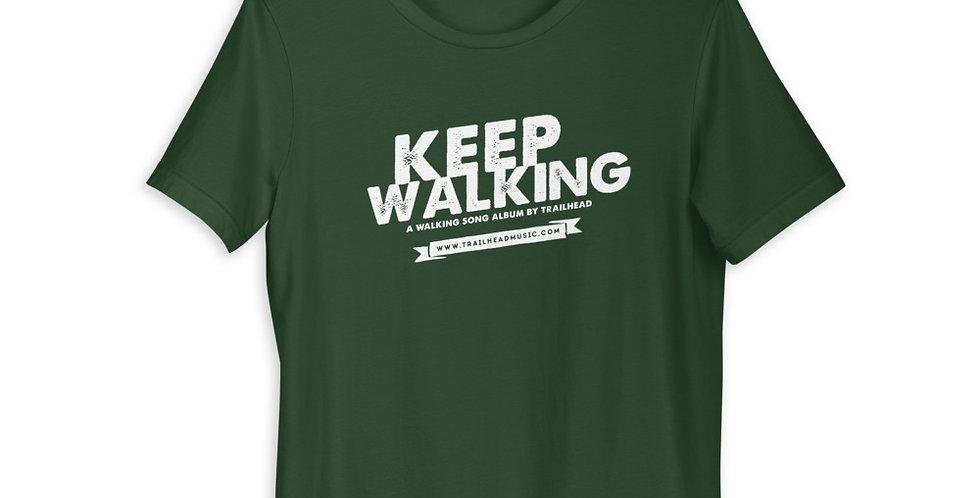 """""""Keep Walking"""" Unisex T-Shirt (white logo)"""