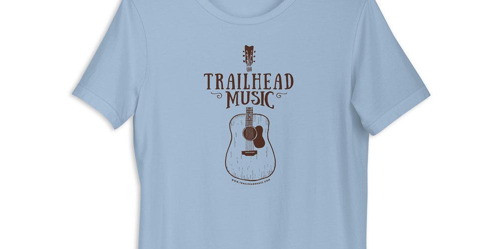 """Unisex T-Shirt """"Trailhead Music Guitar"""" (brown logo)"""