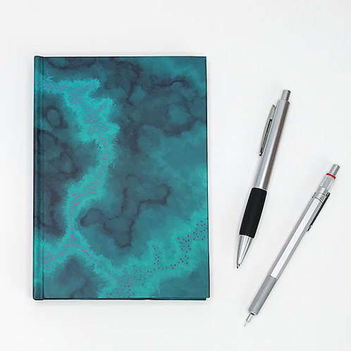 Hardcover journal, pen and pencil, front cover with teal planetary nebula art by Heidi Hodkinson