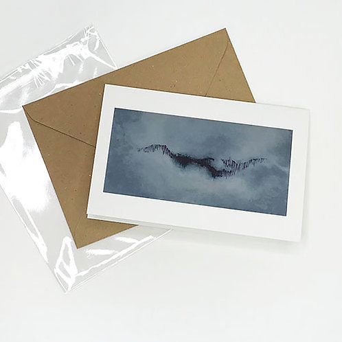Greetings card, Emergence, grey clouds with crimson abstract by Heidi Hodkinson with envelope and sleeve