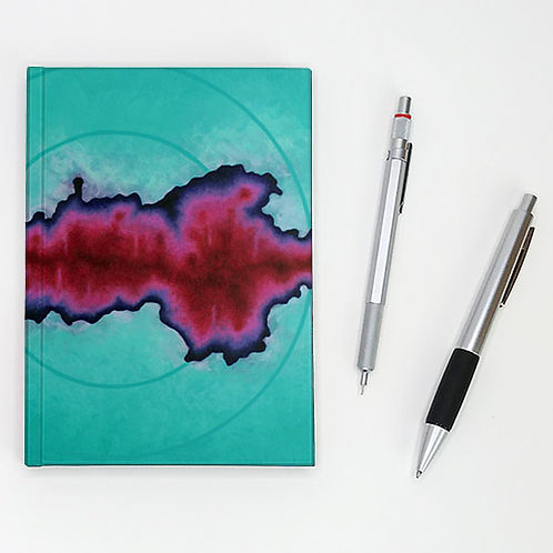 Hardcover journal, pen and pencil, pale turquoise clouds with fuchsia pink front cover, by Heidi Hodkinson
