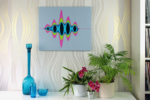 Pulse, vibrant wave painting inspired by quantum physics, by Heidi Hodkinson, in situ on wall