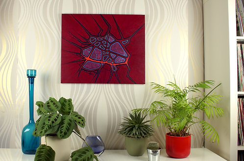 Neural Gateway, painting by Heidi Hodkinson, in situ on lounge wall. Red with blue brain vessels.