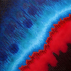 Boundaries, acrylic painting  by Heidi Hodkinson. Physics inspired red and blue abstract considering nature of transitions.