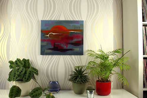Apocalypso Sunset, acrylic painting by Heidi Hodkinson, in situ on wall in lounge. Apocalypse inspired sunset.