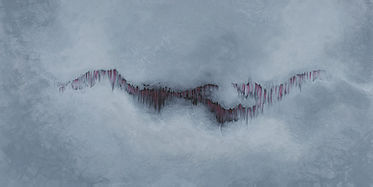 Emergence, physics inspired abstract painting by Heidi Hodkinson. Shades of grey with crimson red