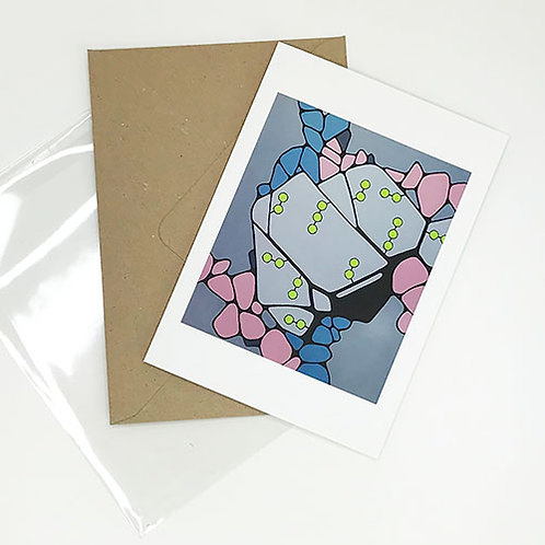 Greetings card, Cellular, grey, pink, blue and green abstract, by Heidi Hodkinson with envelope and sleeve