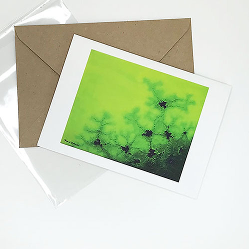 Greetings card, Strain, chartreuse to forest green abstract art, by Heidi Hodkinson with envelope and sleeve
