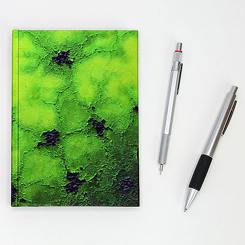 Hardcover journal, pen and pencil, front printed lime green abstract art, by Heidi Hodkinson