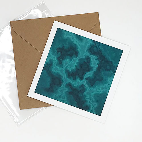 Greetings card, Cosmic Firestarter, teal with pink dots, by Heidi Hodkinson with envelope and sleeve