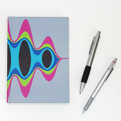 Hardcover journal, pen and pencil, front printed with magenta, green and blue wave, by Heidi Hodkinson