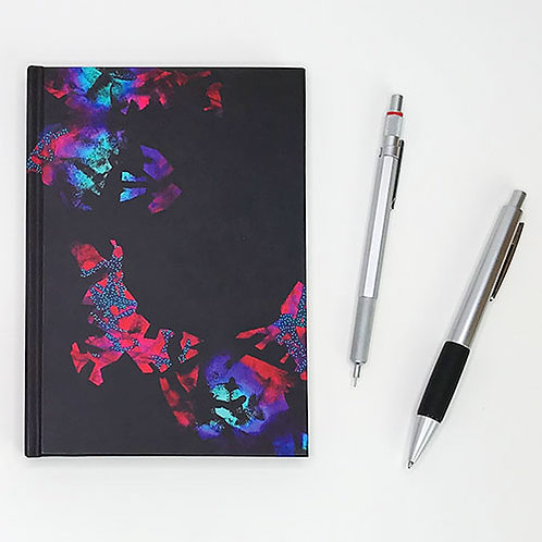 Hardcover journal, pen and pencil, front with crimson, turquoise & black cosmology art by Heidi Hodkinson