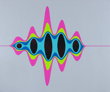 Pulse, vibrant colour wave acrylic painting by Heidi Hodkinson, inspired by quantum mechanics and string theory