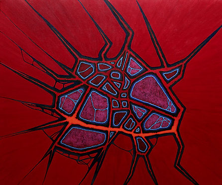 Neural Gateway, painting by Heidi Hodkinson. Red with blue brain vessels pattern; neuroscience meets science fiction