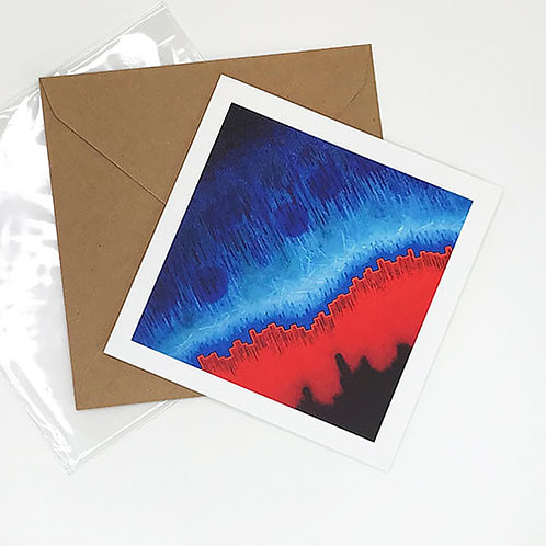 Greetings card, Boundaries, red and marine blue physics abstract, by Heidi Hodkinson with envelope and sleeve