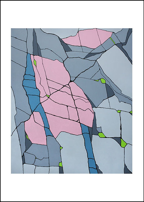 Greetings card front, Fracture, grey, pink and blue abstract rock by Heidi Hodkinson with white border