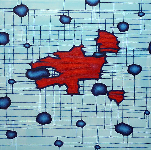 Brane Collisions, acrylic painting by Heidi Hodkinson. Blue and red inspired by string theory and multiverse.