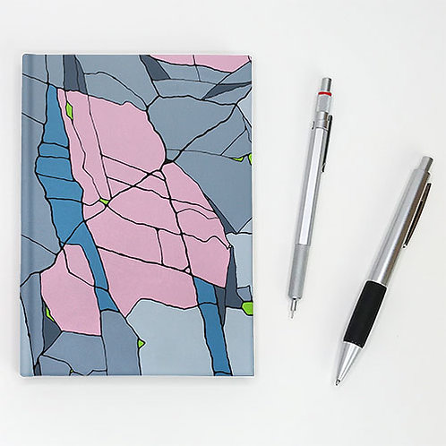 Hardcover journal, pen and pencil, front cover with grey, pink and blue shards, by Heidi Hodkinson