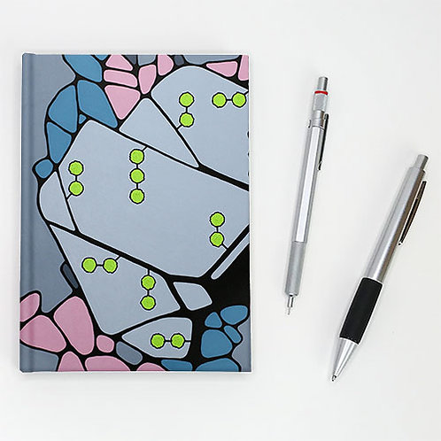 Hardcover journal, pen and pencil, front cover with grey, pink and acid green, by Heidi Hodkinson