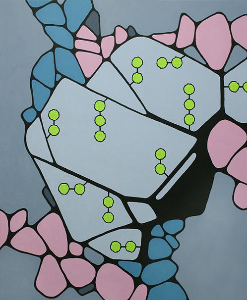 Cellular, painting by Heidi Hodkinson. Mainly grey rock abstract with yellow; looks like microbiology building block