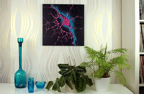 Sensate, neuroscience abstract pink & blue painting by Heidi Hodkinson, in situ on lounge wall.