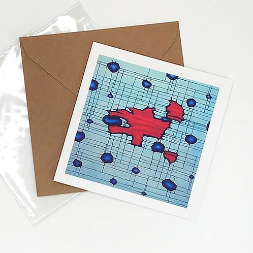 Greetings card, Brane Collisions, crimson and midnight blue forms by Heidi Hodkinson with envelope and sleeve