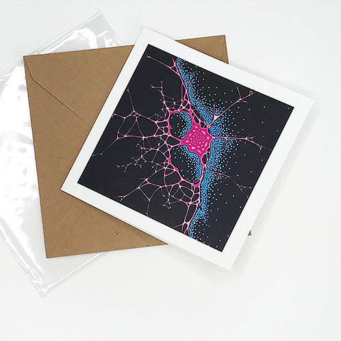 Greetings card, Sensate, magenta and blue brain art by Heidi Hodkinson with envelope and sleeve
