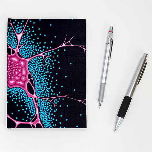 Hardcover journal, pen, pencil; magenta butterfly-like structure on midnight front cover, by Heidi Hodkinson