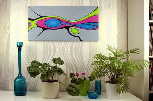 Infinity Awaits, painting by Heidi Hodkinson on lounge wall. Fuchsia, lime green, blue on grey.