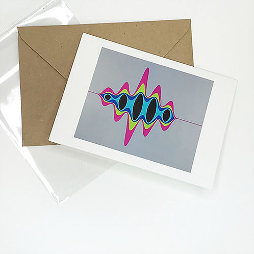 Greetings card, Pulse, magenta, lime green and blue wave by Heidi Hodkinson with envelope and sleeve