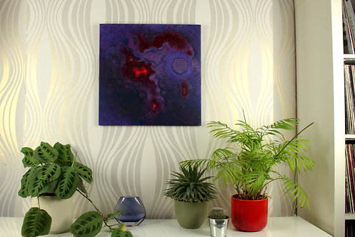 Nebula X, painting by Heidi Hodkinson, in situ on lounge wall. Dark purples with red accents.