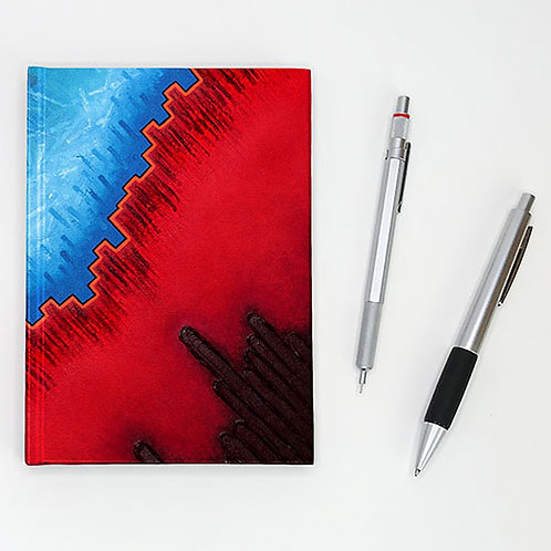 Hardcover journal, pen and pencil, front printed with primary red & blue, by Heidi Hodkinson