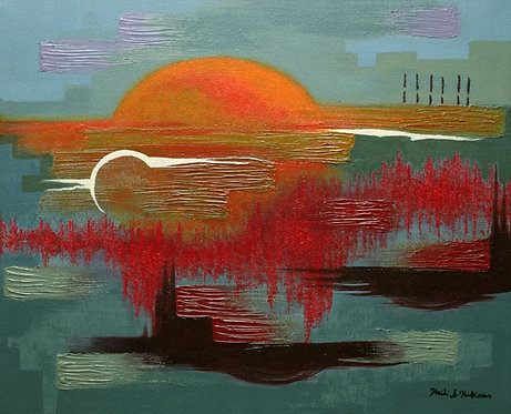 Apocalypso Sunset, acrylic painting by Heidi Hodkinson. Apocalypse inspired sunset abstract in mainly greys, orange, reds.