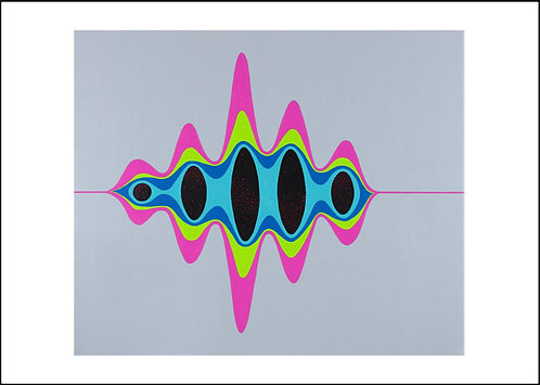 Greetings card front, Pulse, string theory inspired wave painting by Heidi Hodkinson with white border