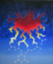 Purex, textured acrylic by Heidi Hodkinson. Hot red and dark blue; separation process of radioactive elements
