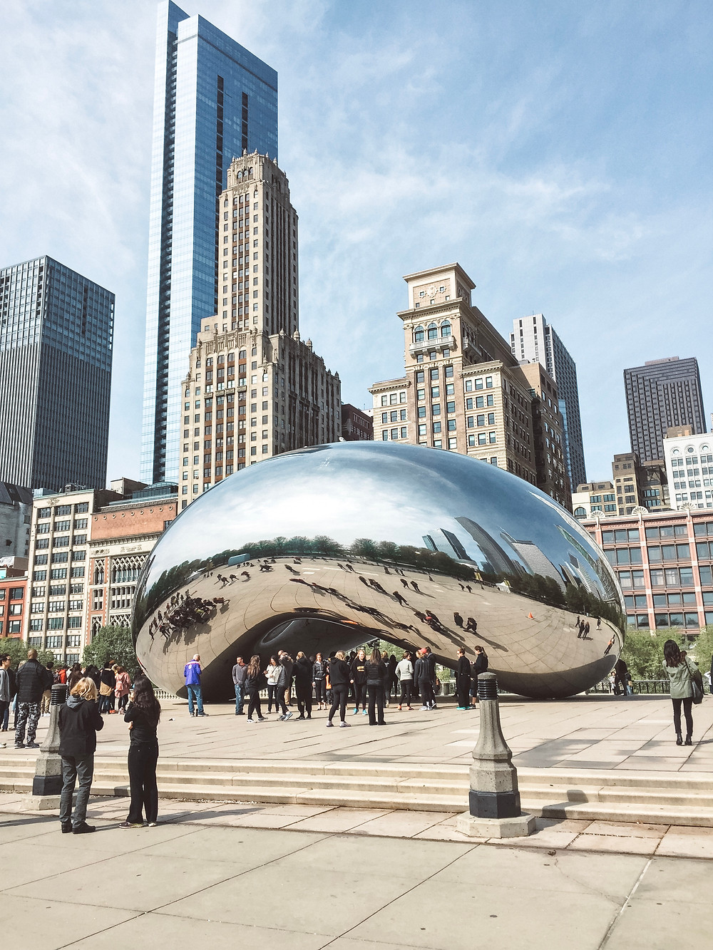 The Beach and Cloud Gate in Millennium Park overlooking Downtown Chicago