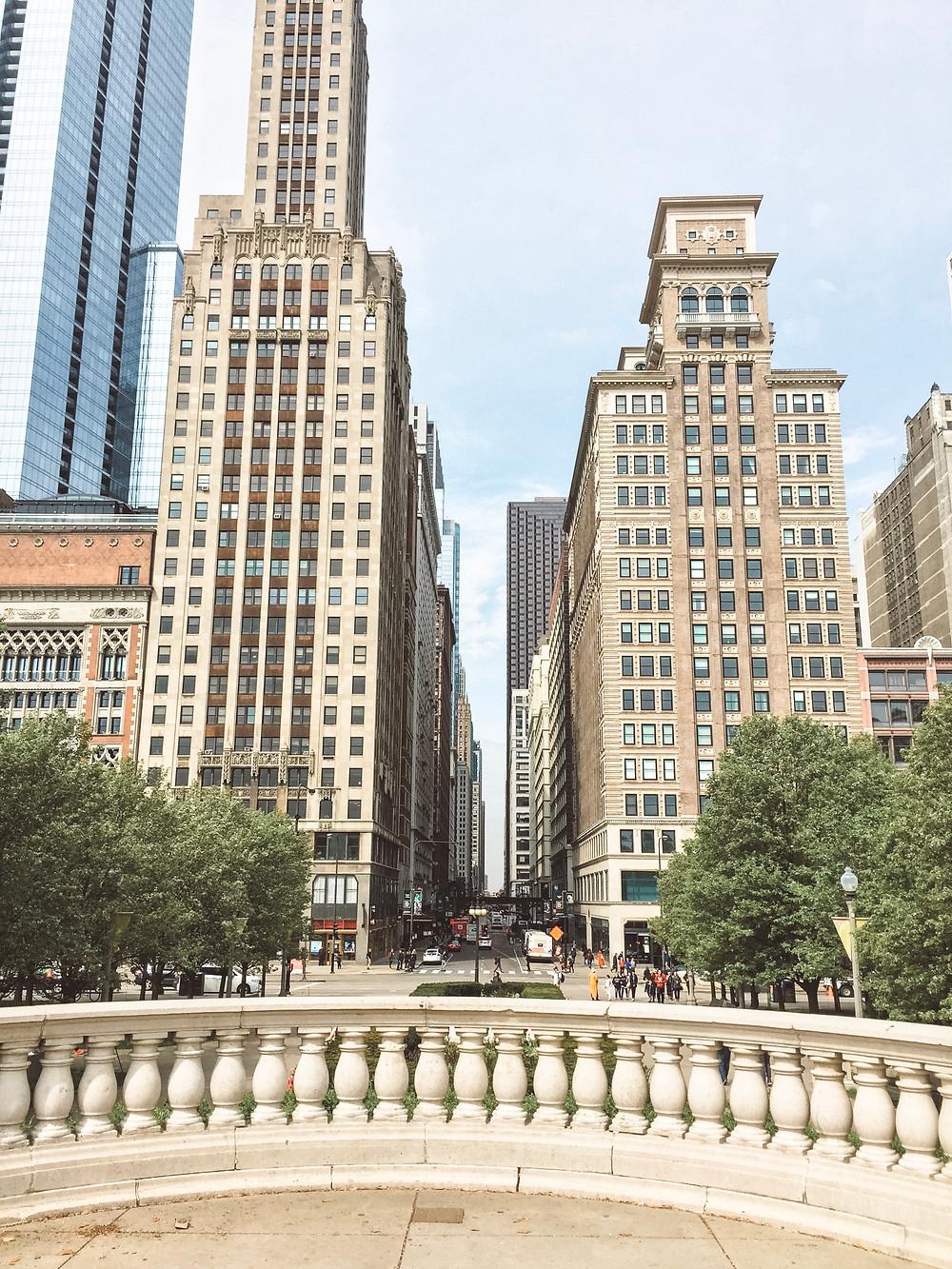 Millennium Park overlooking Downtown Chicago